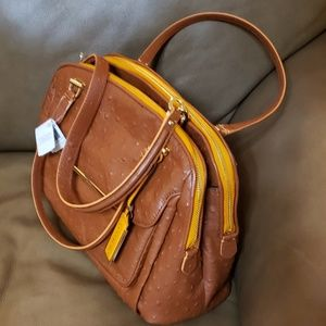 COACH ostrich leather satchel/shoulder handbag.